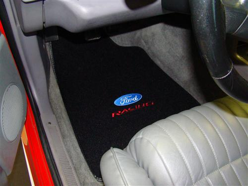 Mustang Black Floor Mats w/ Ford Racing Logo (79-93)