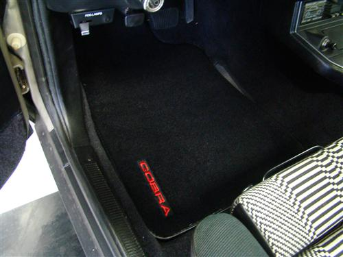 Mustang Floor Mats w/ 93 Cobra Text Logo Black  (79-93)