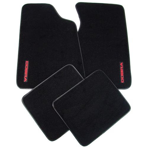 79-93 MUSTANG BLACK FLOOR MATS W/ 93 COBRA TEXT LOGO