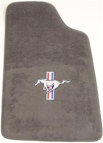Mustang Dark Gray/Smoke Gray Floor Mats w/ Pony Logo (84-89)