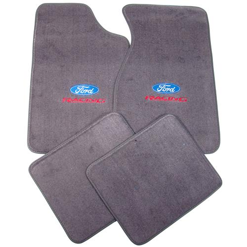 Mustang Dark Smoke Gray Floor Mats w/ Ford Racing Logo (84-89)
