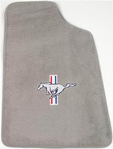 Mustang Light Gray Floor Mats w/ Pony Logo (85-86)