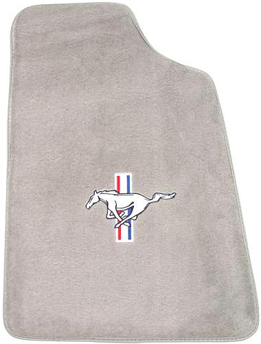 Mustang Light Gray Floor Mats w/ Pony Logo (85-86) - Picture of Mustang Light Gray Floor Mats w/ Pony Logo (85-86)