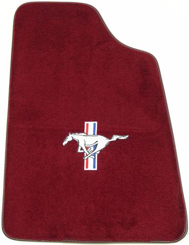 Mustang Ruby Red Floor Mats w/ Pony Logo (93-93)