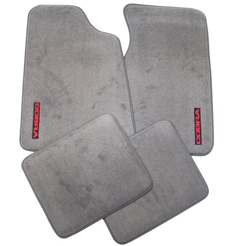 93 MUSTANG OPAL GRAY FLOOR MATS W/ 93 COBRA TEXT LOGO