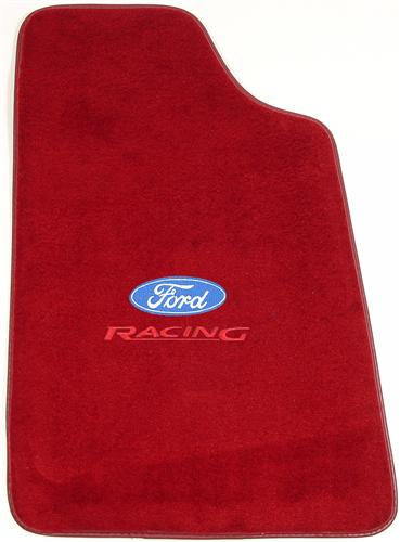 Mustang Medium/Scarlet Red Floor Mats w/ Ford Racing Logo (82-92)