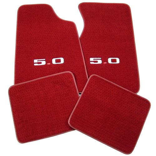 Mustang Medium/Scarlet Red Floor Mats w/ 5.0 Logo (82-92)