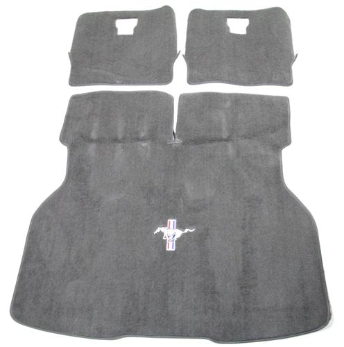 Mustang Hatch Area Carpet with Running Pony Logo Dark Gray/Svo Gray (84-86) - Picture of Mustang Hatch Area Carpet with Running Pony Logo Dark Gray/Svo Gray (84-86)