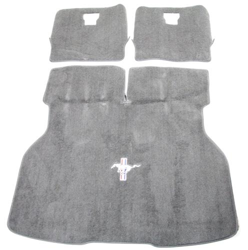 Mustang Hatch Area Carpet with Running Pony Logo Opal Gray (93-93) - Picture of Mustang Hatch Area Carpet with Running Pony Logo Opal Gray (93-93)