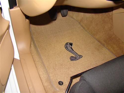 ACC Mustang Floor Mats with Cobra Snake Logo Saddle Tan (94-98)