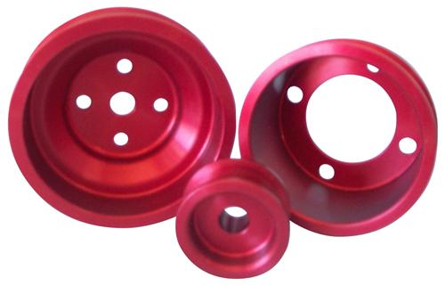 ASP Mustang Aluminum Underdrive Pulley Kit Red (79-93) 5.0 822125