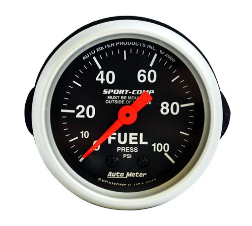 "Auto Meter 2 1/16"" Mechanical Fuel Pressure Gauge 0-100 Psi Sport Comp 3312"
