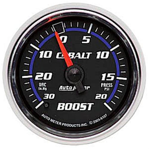 "Auto Meter Cobalt Vacuum/Boost Pressure Gauge 20 PSI Mechanical, 2 1/16"" 6107"