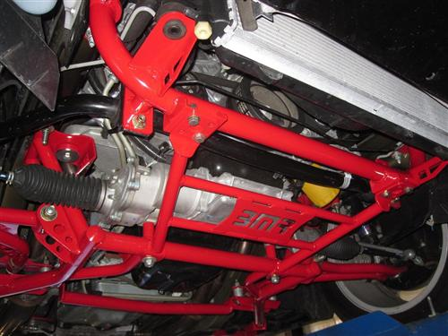 05-14 Mustang Radiator Support to K-Member Lower Chassis Brace Red Installed