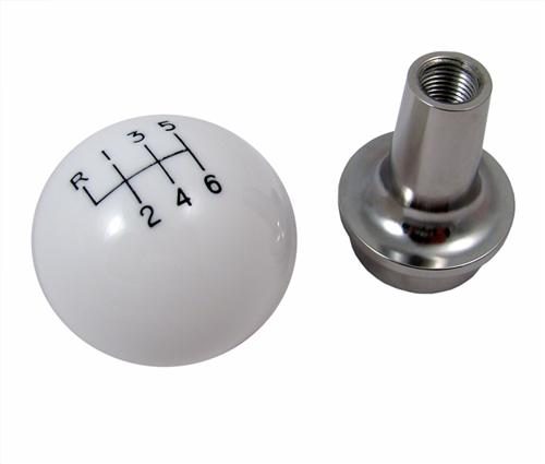 Barton Mustang Shift Knob & Chrome Adapter White (11-14) 2011BM3
