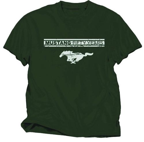 Mustang 50 Years Military Green T Shirt Medium - Mustang 50 Years Military Green T Shirt Medium