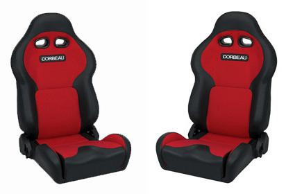 Corbeau Mustang VX2000 Seat Pair Black Vinyl/Red Cloth Insets - Picture of Corbeau Mustang VX2000 Seat Pair Black Vinyl/Red Cloth Insets