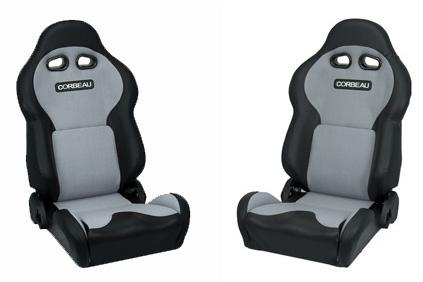 Corbeau Mustang VX2000 Seat Pair Black Vinyl/Gray Cloth Inserts - Picture of Corbeau Mustang VX2000 Seat Pair Black Vinyl/Gray Cloth Inserts
