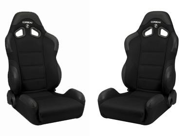Corbeau Mustang CR1 Wide Seat Pair Black Cloth - Picture of Corbeau Mustang CR1 Wide Seat Pair Black Cloth