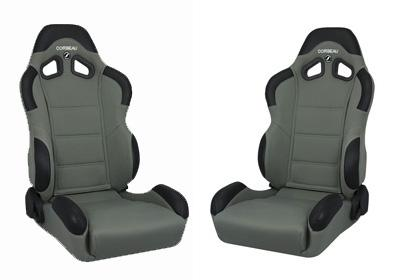 Corbeau Mustang CR1 Seat Pair Gray Cloth - Picture of Corbeau Mustang CR1 Seat Pair Gray Cloth