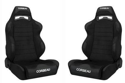 Corbeau Mustang LG1 Wide Seat Pair Black Cloth - Picture of Corbeau Mustang LG1 Wide Seat Pair Black Cloth
