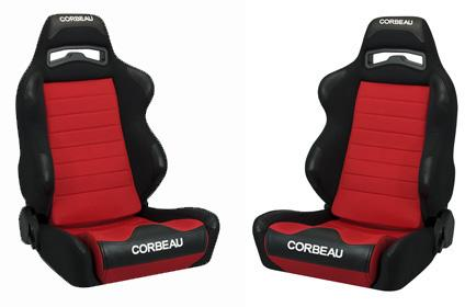 Corbeau Mustang LG1 Seat Pair Black Cloth/Red Cloth Insert - Picture of Corbeau Mustang LG1 Seat Pair Black Cloth/Red Cloth Insert