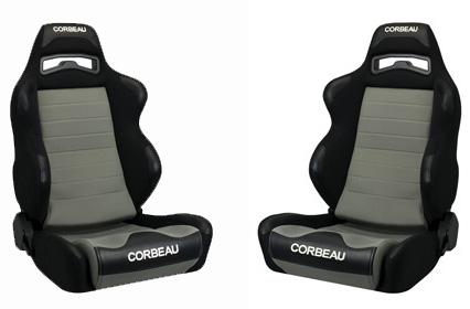 Corbeau Mustang LG1 Wide Seat Pair Black Cloth/Gray Cloth Insert - Picture of Corbeau Mustang LG1 Wide Seat Pair Black Cloth/Gray Cloth Insert
