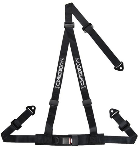 "Corbeau 2"" 3 Point Bolt In Harness Black"