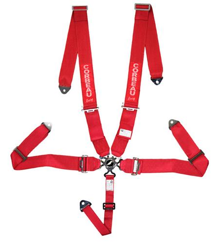 "Corbeau 3"" 5 Point Bolt In Camlock Harness, SFI Approved Red"