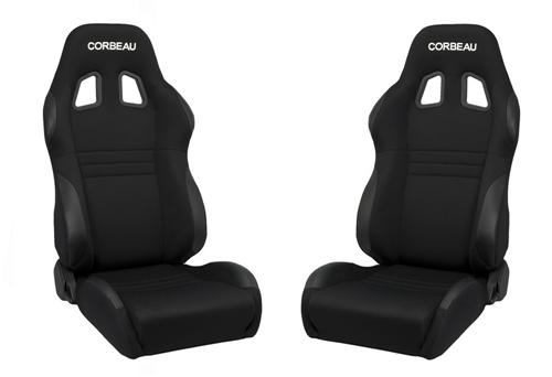 Corbeau A4 Wide Seat Pair Black Cloth - Picture of Corbeau A4 Wide Seat Pair Black Cloth