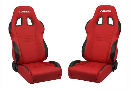 Corbeau A4 Seat Pair Red Cloth - Picture of Corbeau A4 Seat Pair Red Cloth