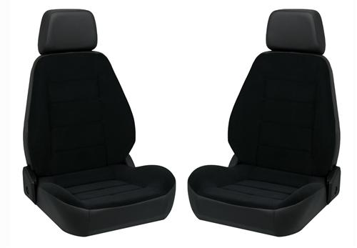 Corbeau Sport Seat Pair Black Vinyl/Black Cloth Insert - Picture of Corbeau Sport Seat Pair Black Vinyl/Black Cloth Insert
