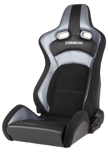 Corbeau Mustang Sportline RRX Racing Seat, Pair Black w/ Gray Carbon Fiber Vinyl - Picture of Corbeau Mustang Sportline RRX Racing Seat, Pair Black w/ Gray Carbon Fiber Vinyl
