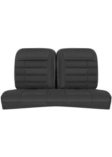 1979-93 Mustang Coupe Corbeau Black Microsuede Rear Seat Upholstery. - Picture of 1979-93 Mustang Coupe Corbeau Black Microsuede Rear Seat Upholstery.
