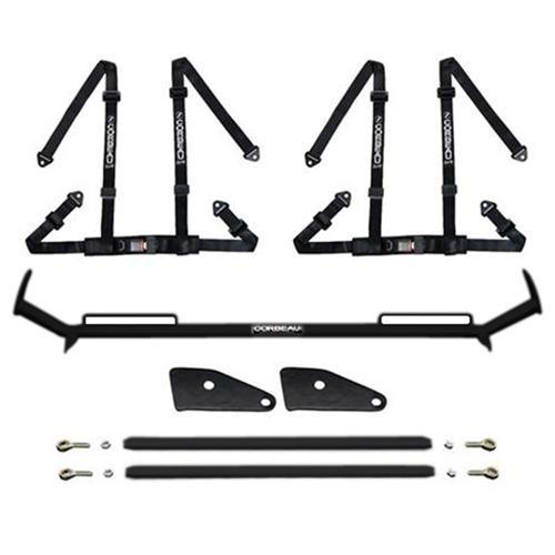 "Corbeau Mustang 2"" Bolt In 4 Point Harness & Bar Kit Black (94-04) - Corbeau Mustang 2"" Bolt In 4 Point Harness & Bar Kit Black (94-04)"