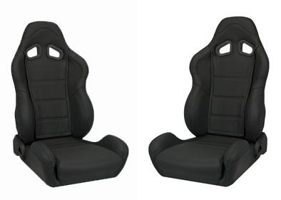 Corbeau Mustang CR1 Seat Pair Black Leather - Picture of Corbeau Mustang CR1 Seat Pair Black Leather