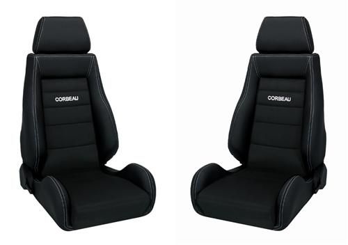 Corbeau Mustang GTS 2 Seat Pair Black Leather/Black Microsuede Inserts