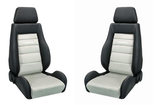 Corbeau Mustang GTS Seat Pair Black Leather/Gray Microsuede Insert