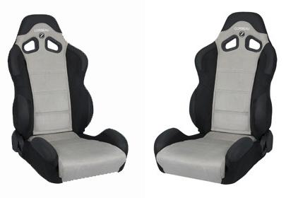 Corbeau Mustang CR1 Wide Seat Pair Black Microsuede/Gray Microsuede Inserts - Picture of Corbeau Mustang CR1 Wide Seat Pair Black Microsuede/Gray Microsuede Inserts