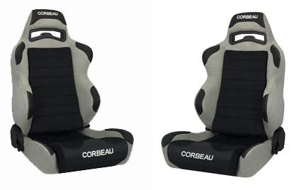 Corbeau Mustang LG1 Wide Seat Pair Gray Microsuede/Black Microsuede Insert - Picture of Corbeau Mustang LG1 Wide Seat Pair Gray Microsuede/Black Microsuede Insert