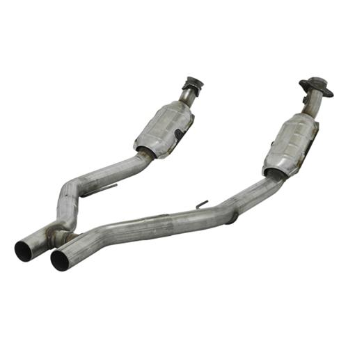 "2005-2009 Mustang GT 4.6L 2.250"" Flowmaster Direct Fit Catalytic H-Pipe, 3-Way Catalytic Converters, 49 State Legal - 05-09 Flowmaster Catalytic H-Pipe Side Photo"