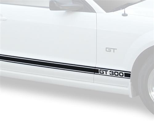 Mustang GT 300 Rocker Stripes Black (05-09)