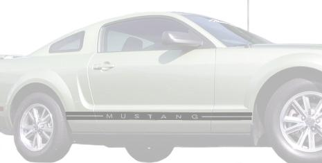 Mustang Scripted Side Stripe Silver (05-09)