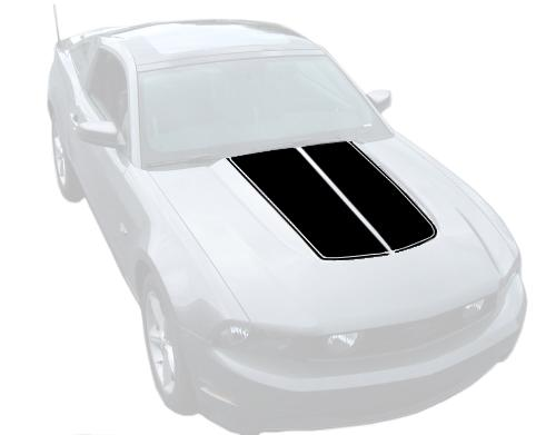 Mustang Dual Hood Stripes Black (10-12)