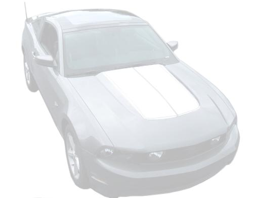 Mustang Dual Hood Stripes White (10-12)