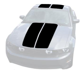 Mustang Lemans Stripe Kit (Hardtop) Black (10-12)