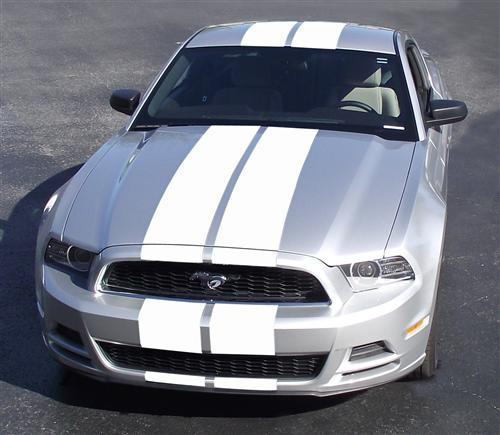 2013-14 Mustang Lemans Style Stripe Kit. White  Does from front bumper all the way to rear bumper. For pedastal style wing. Please use dealer login I gave you for product pictures
