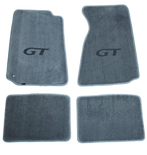 Mustang Flor Mats w/ GT Logo Gray (94-98) - Picture of Mustang Flor Mats w/ GT Logo Gray (94-98)