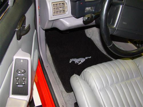 Mustang Floor Mats with Running Pony Logo Black (79-93)