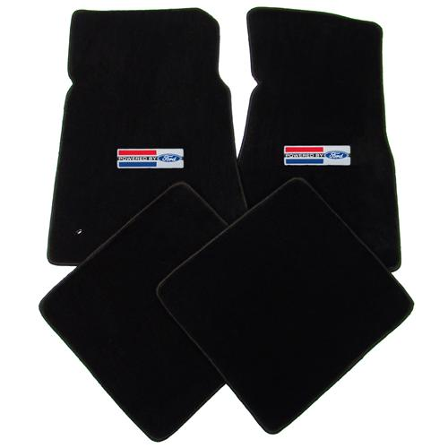 Mustang Floor Mats w/ Powered By Ford Logo Black (79-93)